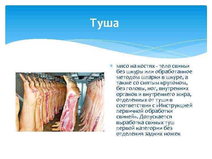 Туша мясо на костях - тело свиньи без шкуры или обработанное методом шпарки в