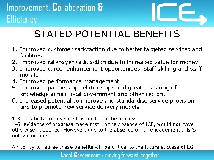 STATED POTENTIAL BENEFITS 1. Improved customer satisfaction due to better targeted services and facilities