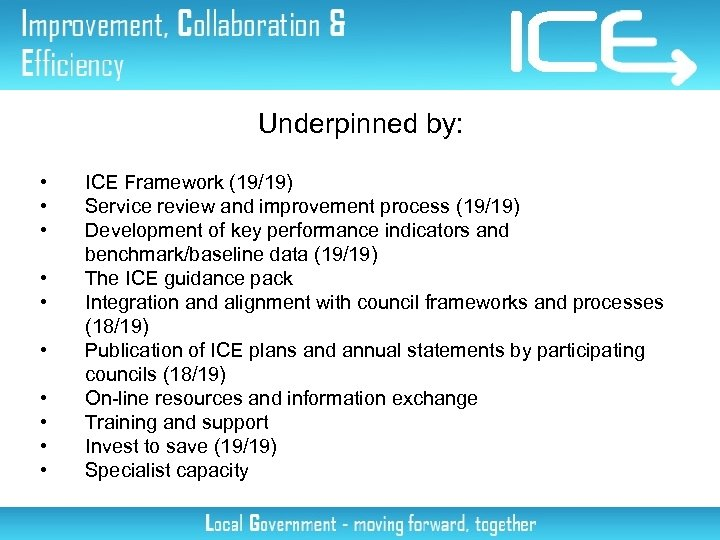 Underpinned by: • • • ICE Framework (19/19) Service review and improvement process (19/19)
