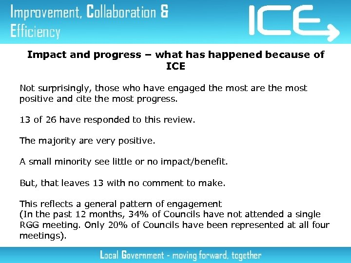 Impact and progress – what has happened because of ICE Not surprisingly, those who