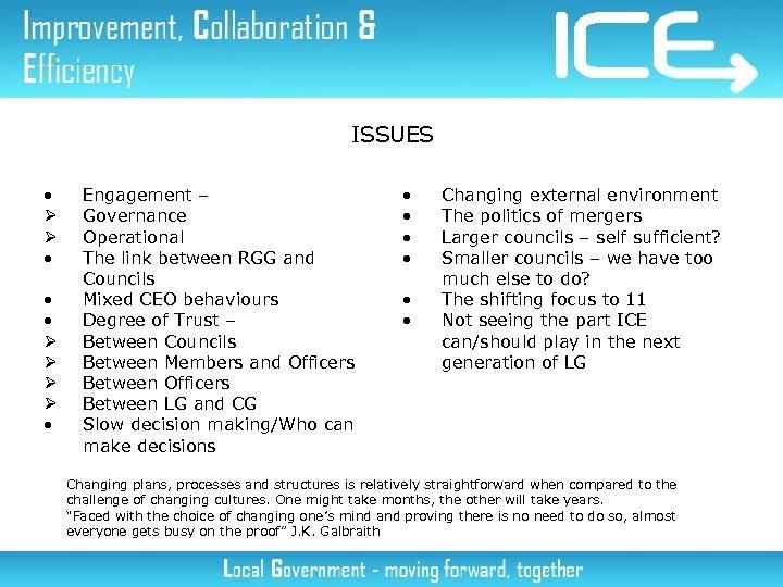 ISSUES • Ø Ø • • • Ø Ø • Engagement – Governance Operational