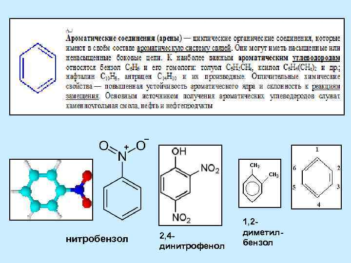 нитробензол 2, 4 динитрофенол 1, 2 диметилбензол
