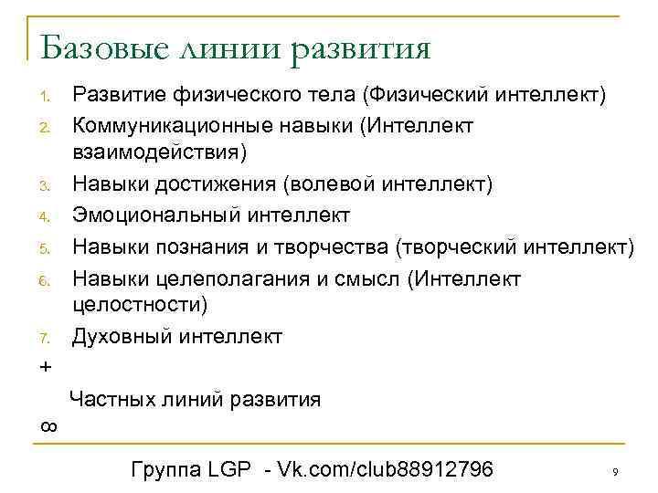 Базовые линии развития 1. 2. 3. 4. 5. 6. 7. Развитие физического тела (Физический