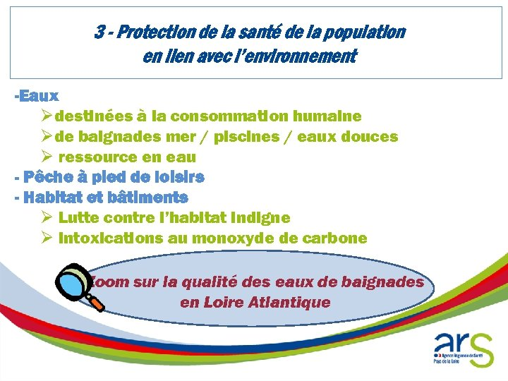 3 - Protection de la santé de la population en lien avec l'environnement -Eaux