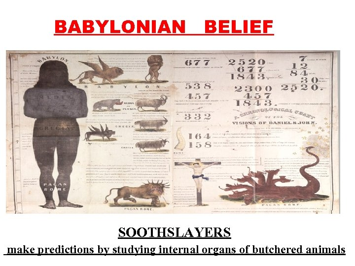 BABYLONIAN BELIEF SOOTHSLAYERS make predictions by studying internal organs of butchered animals