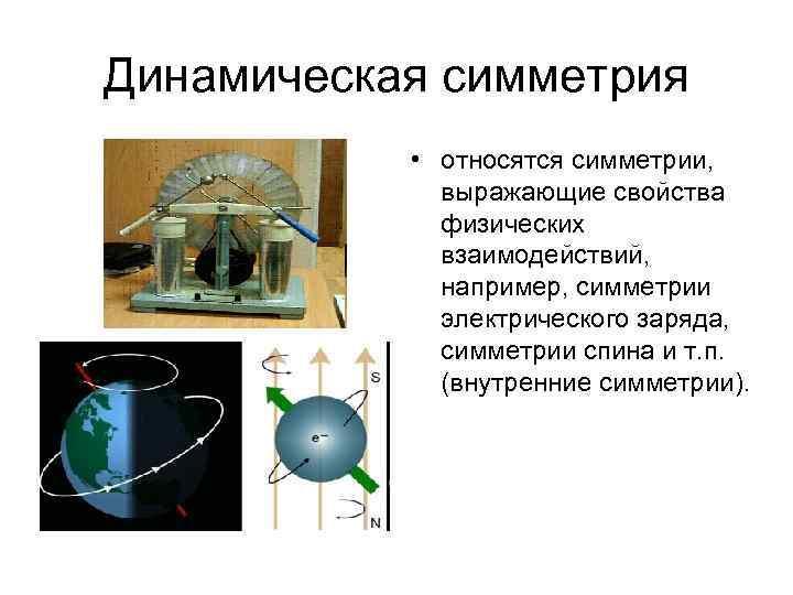 Динамическая симметрия • относятся симметрии, выражающие свойства физических взаимодействий, например, симметрии электрического заряда, симметрии