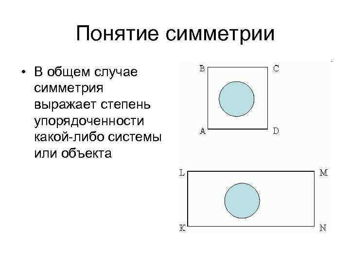 Понятие симметрии • В общем случае симметрия выражает степень упорядоченности какой-либо системы или объекта