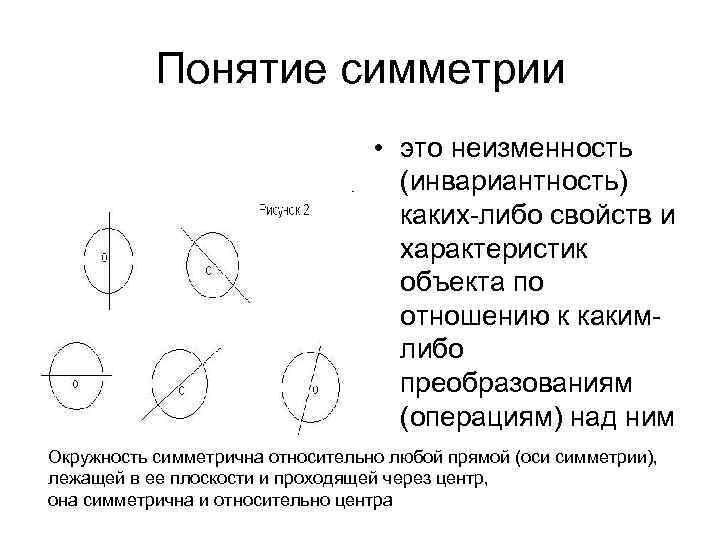 Понятие симметрии • это неизменность (инвариантность) каких-либо свойств и характеристик объекта по отношению к