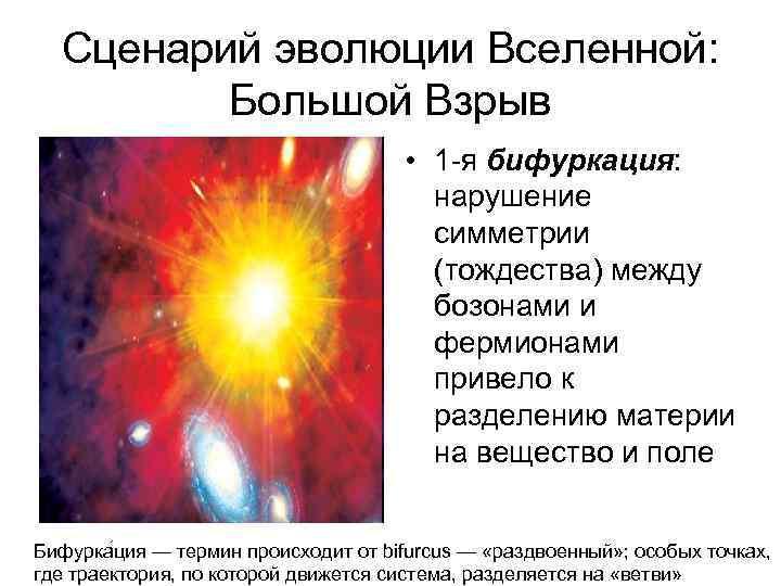 Сценарий эволюции Вселенной: Большой Взрыв • 1 -я бифуркация: нарушение симметрии (тождества) между бозонами