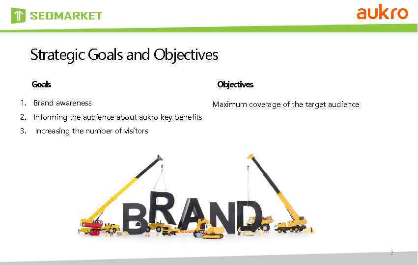 Strategic Goals and Objectives Goals 1. Brand awareness Objectives Maximum coverage of the target