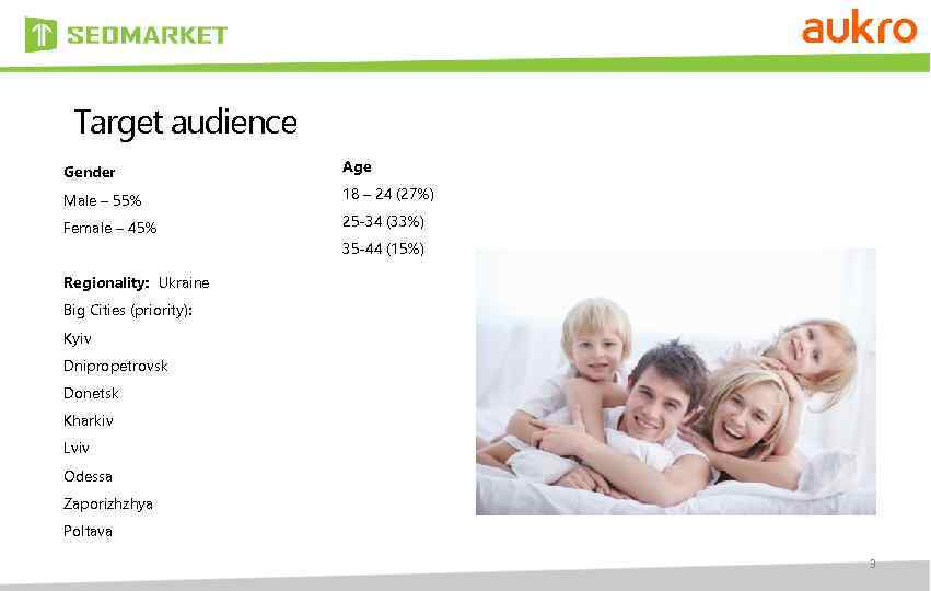 Target audience Gender Age Male – 55% 18 – 24 (27%) Female – 45%