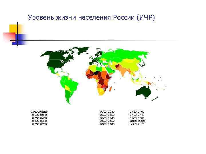 Уровень жизни населения России (ИЧР) 0, 950 и более. 0, 900– 0, 949. 0,