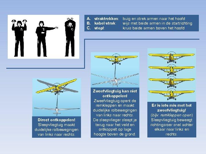 A. straktrekken: buig en strek armen naar het hoofd B. kabel strak: wijs met