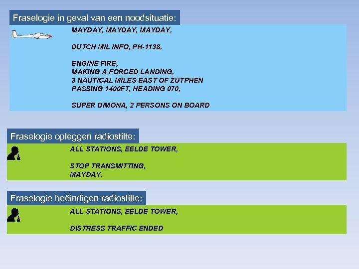 Fraselogie in geval van een noodsituatie: MAYDAY, DUTCH MIL INFO, PH-1138, ENGINE FIRE, MAKING