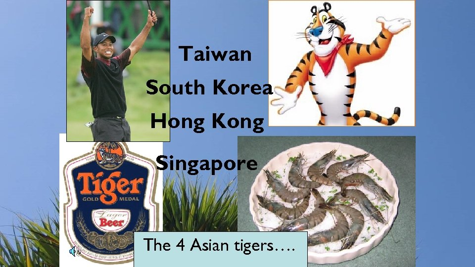 Taiwan South Korea Hong Kong Singapore The 4 Asian tigers….