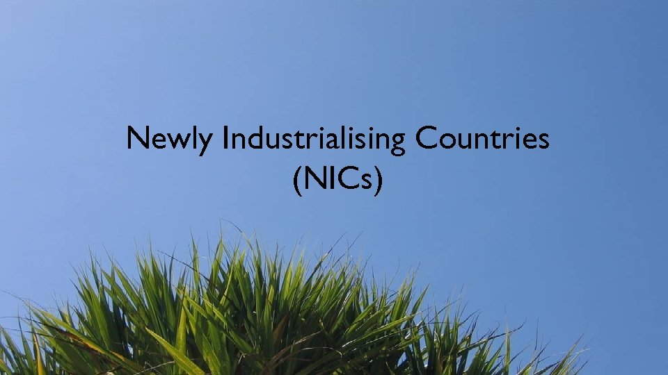 Newly Industrialising Countries (NICs)