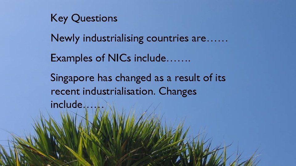 Key Questions Newly industrialising countries are…… Examples of NICs include……. Singapore has changed as