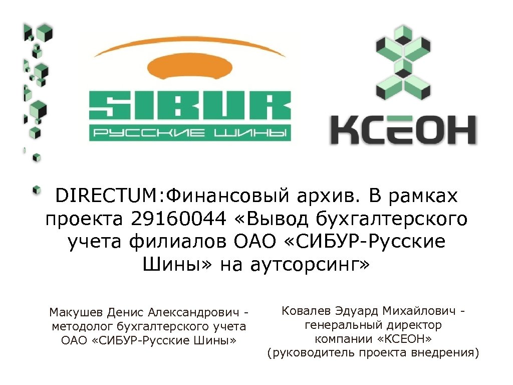 DIRECTUM: Финансовый архив. В рамках проекта 29160044 «Вывод бухгалтерского учета филиалов ОАО «СИБУР-Русские Шины»