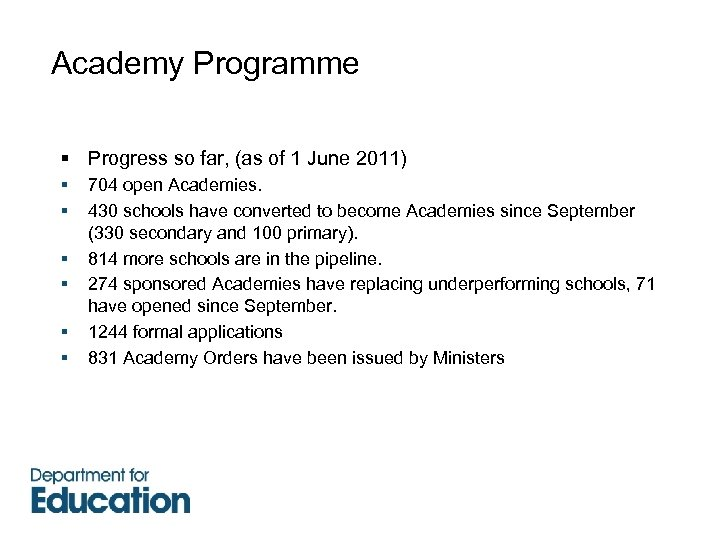 Academy Programme § Progress so far, (as of 1 June 2011) § § §