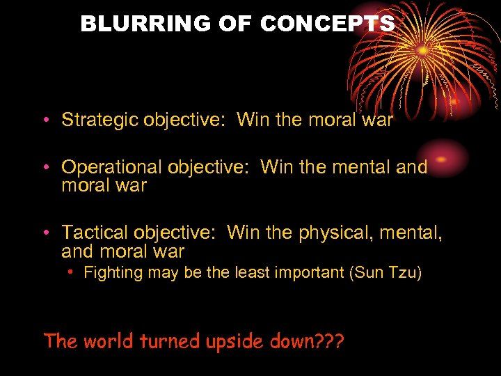 BLURRING OF CONCEPTS • Strategic objective: Win the moral war • Operational objective: Win
