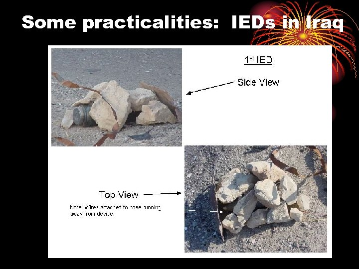 Some practicalities: IEDs in Iraq