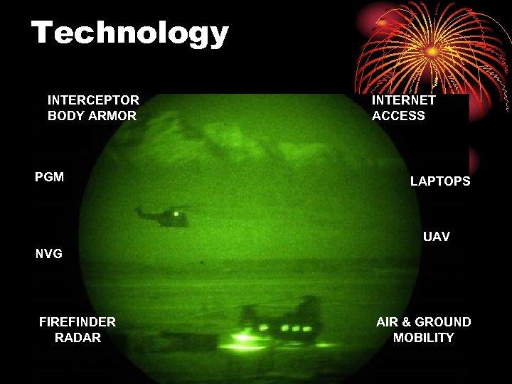 Technology INTERCEPTOR BODY ARMOR PGM BFT INTERNET ACCESS LAPTOPS UAV NVG LRF FIREFINDER RADAR