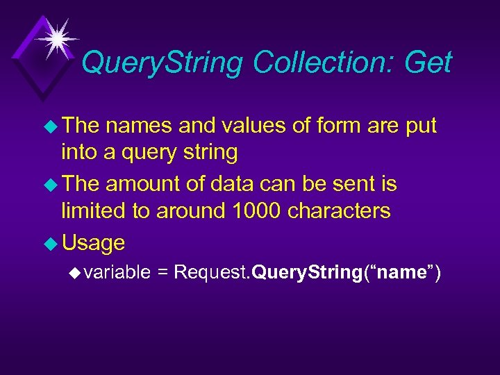 Query. String Collection: Get u The names and values of form are put into