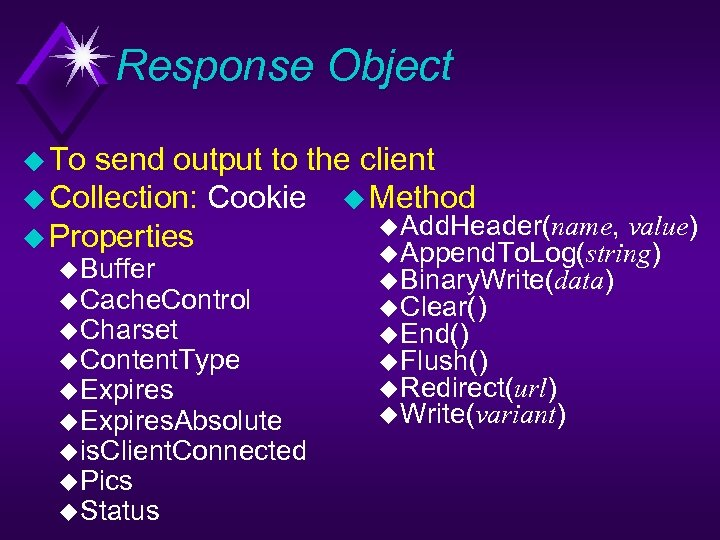 Response Object u To send output to the client u Collection: Cookie u Method