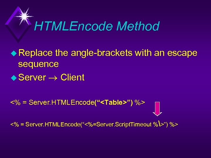 HTMLEncode Method u Replace the angle-brackets with an escape sequence u Server Client <%