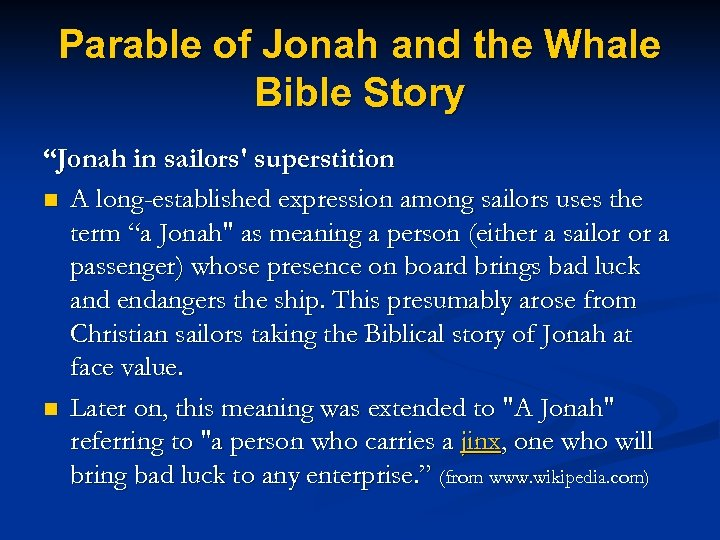 """Parable of Jonah and the Whale Bible Story """"Jonah in sailors' superstition n A"""