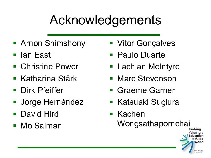 Acknowledgements § § § § Arnon Shimshony Ian East Christine Power Katharina Stärk Dirk