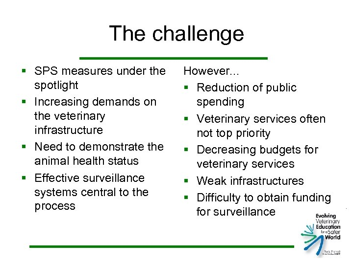 The challenge § SPS measures under the spotlight § Increasing demands on the veterinary