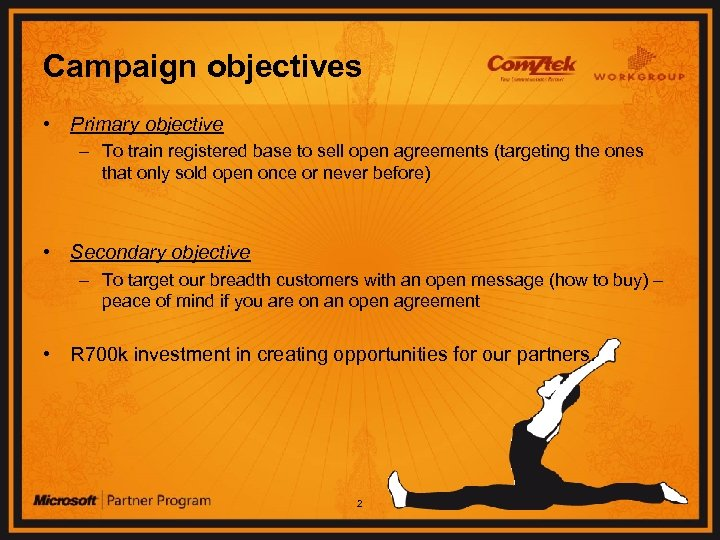 Campaign objectives • Primary objective – To train registered base to sell open agreements