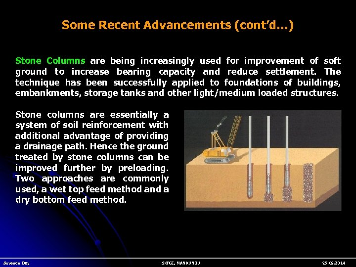 Some Recent Advancements (cont'd…) Stone Columns are being increasingly used for improvement of soft