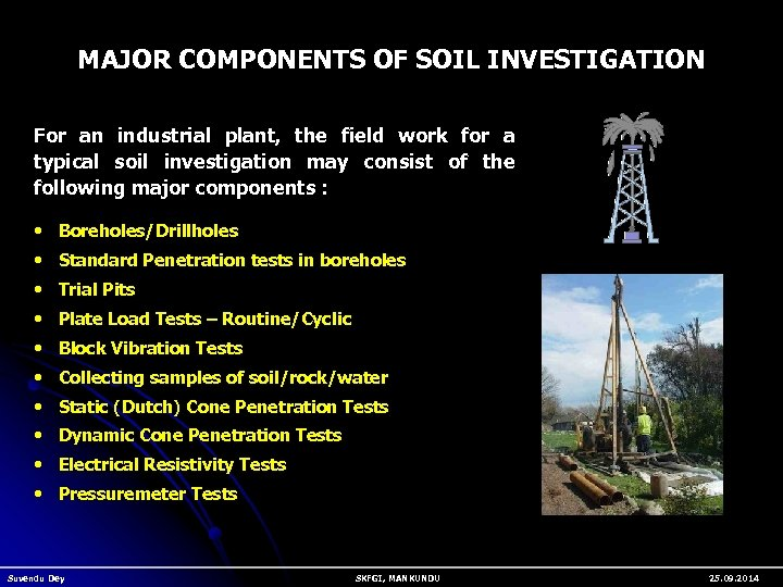 MAJOR COMPONENTS OF SOIL INVESTIGATION For an industrial plant, the field work for a