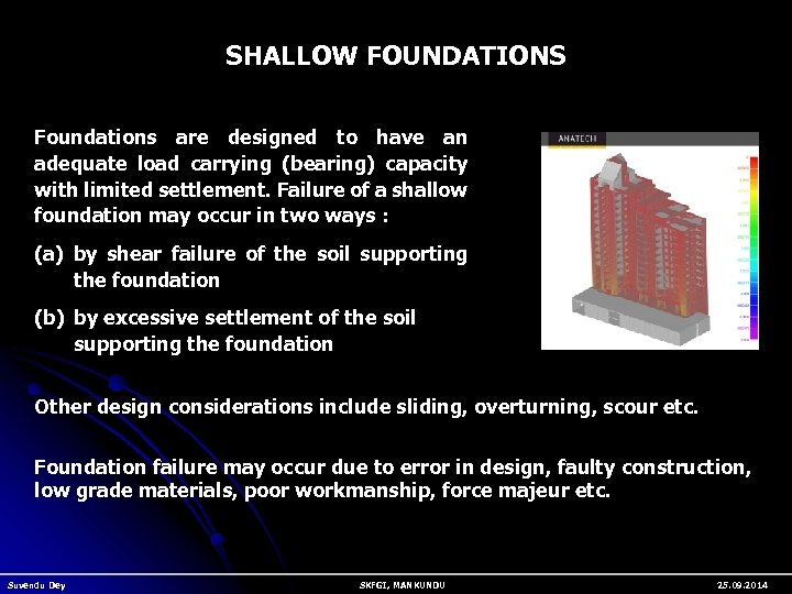 SHALLOW FOUNDATIONS Foundations are designed to have an adequate load carrying (bearing) capacity with