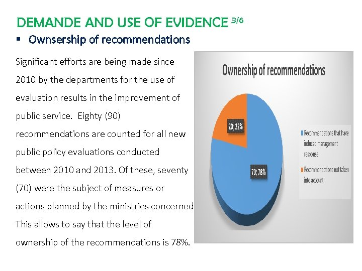 DEMANDE AND USE OF EVIDENCE 3/6 § Ownsership of recommendations Significant efforts are being