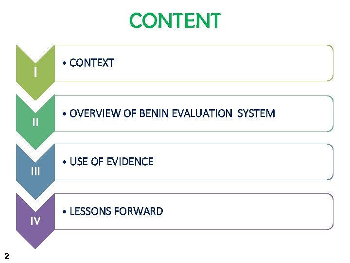 CONTENT I II IV 2 • CONTEXT • OVERVIEW OF BENIN EVALUATION SYSTEM •