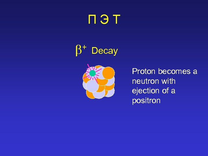 ПЭТ + Decay Proton becomes a neutron with ejection of a positron