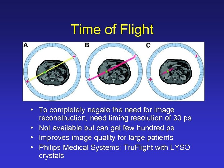 Time of Flight • To completely negate the need for image reconstruction, need timing