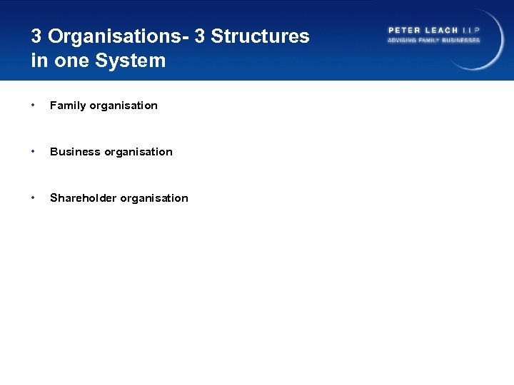 3 Organisations- 3 Structures in one System • Family organisation • Business organisation •