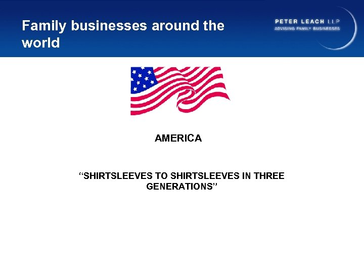 """Family businesses around the world AMERICA """"SHIRTSLEEVES TO SHIRTSLEEVES IN THREE GENERATIONS"""""""