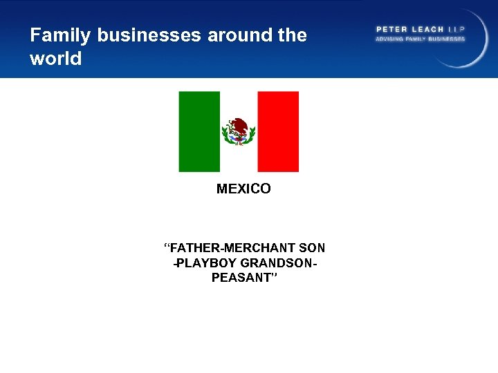 """Family businesses around the world MEXICO """"FATHER-MERCHANT SON -PLAYBOY GRANDSONPEASANT"""""""