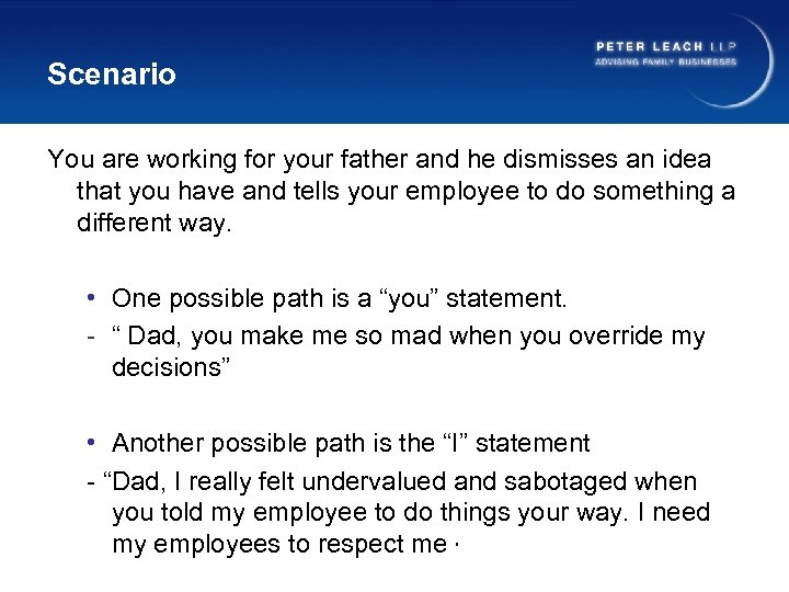 Scenario You are working for your father and he dismisses an idea that you