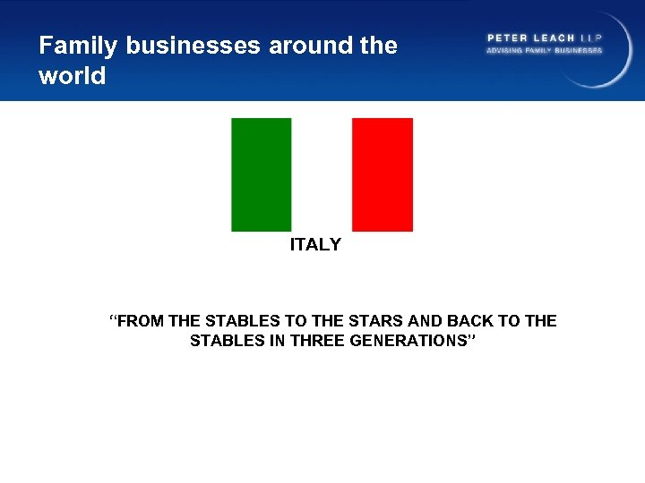 """Family businesses around the world ITALY """"FROM THE STABLES TO THE STARS AND BACK"""