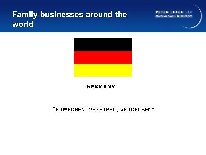 "Family businesses around the world GERMANY ""ERWERBEN, VERDERBEN"""