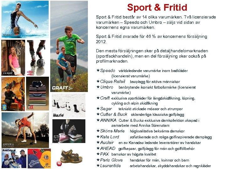 Sport & Fritid består av 14 olika varumärken. Två licensierade varumärken – Speedo och