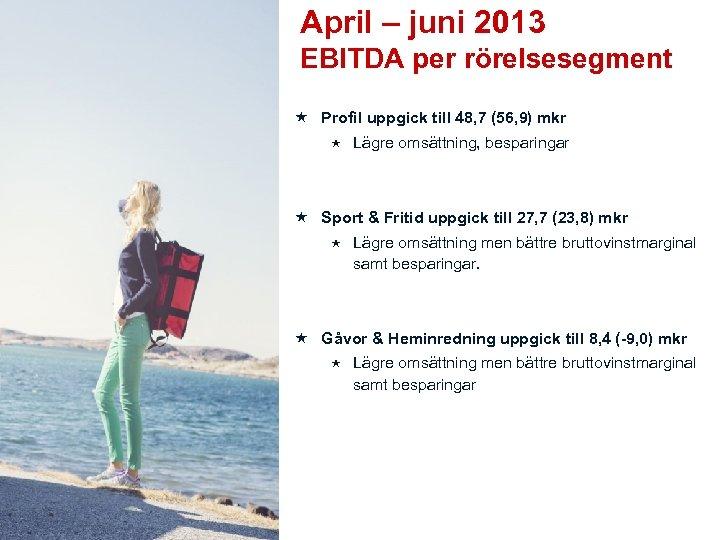 April – juni 2013 EBITDA per rörelsesegment Profil uppgick till 48, 7 (56, 9)