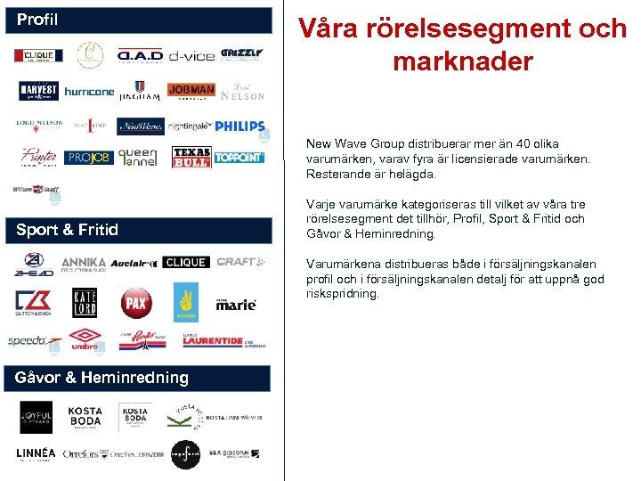 Profil Våra rörelsesegment och marknader New Wave Group distribuerar mer än 40 olika varumärken,
