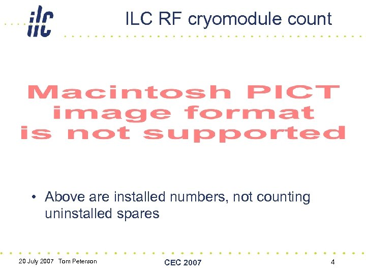ILC RF cryomodule count • Above are installed numbers, not counting uninstalled spares 20